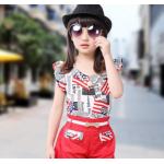 เสื้อผ้าเข้าชุดสำหรับเด็ก ตกแต่งด้วยลายธงชาติเก๋ๆ น่ารัก สดใส สไตล์แฟชั่น - แดง