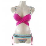 ชุดว่ายน้ำแฟชั่นสีสดใส ดีไซน์สวย มีสายไขว้ให้ปรับแบบได้หลากสไตล์ - โรส