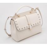 กระเป๋าสะพายหนังสำหรับสุภาพสตรี ฉลุลายเล็กๆ -ขาว