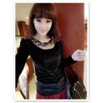 เสื้อแฟชั่นเกาหลีใหม่ ผ้ากำมะหยี่สีมันวาว ตกแต่งคอเสื้อด้วยเพชรสีสันสวยงาม สีดำ