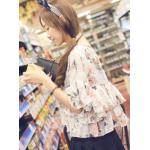 เสื้อแฟชั่นเกาหลีลายดอก พริวไหว สบายๆ สไตล์ผ้าชีฟอง - แอปริคอท
