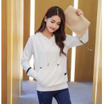 เสื้อกันหนาวแฟชั่น สีพื้นเรียบๆ สวยงามคลาสสิค ใส่ได้กันยาวๆ ไม่มีตกยุค - ขาว