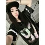 เสื้อแฟชั่นเกาหลี สไตล์สาวฮิพฮอพ จะใส่เที่ยวหรือจะใส่แทนชุดนอนตัวเก่ง ก็เก๋ไม่เบา - ดำ