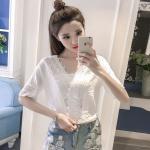 เสื้อแฟชั่นสตรี ลูกไม้แบบคอวี เพิ่มเสน่ห์และดีไซน์แบบวินเทจ ที่จะกลับมาอีกครั้ง - ขาว
