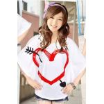 เสื้อยืดคอกลม ลายน่ารักๆ พื้นขาว ผ้านิ่ม น่าใส่ออกไปนอกบ้านจริงๆ - หัวใจ