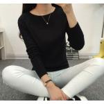 เสื้อแขนยาวแฟชั่นเกาหลี แต่งแขนลายนูนแบบลูกคลื่น สวยเก๋ นุ่มสบาย - ดำ