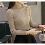 เสื้อแขนยาวแฟชั่นสุด cool ใส่กับกระโปรงหรือกางเกงก็ง่าย ผ้านิ่ม เข้ารูป กระชับทุกรูปทรง - กากี