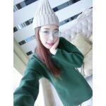 เดรสสั้นเกาหลี สำหรับสาวๆ ใส่ต้อนรับหน้าหนาว เน้อผ้าหนานุ่ม แขนยาว ปกป้องผิวจากลมหนาว - เขียว