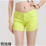 กางเกงยีนส์ขาสั้นสีสันโดนๆ แฟชั่นสีสันสดใส สำหรับสาวๆ ได้ใส่ชิลๆ โชว์ขาเรียวๆ SET1 - เขียวเรืองแสง