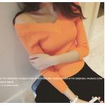 เสื้อยืดคอวีแขนยาว แฟชั่นสบายๆ ให้ความคล่องตัวสูง มีให้เลือกหลายสี - ส้ม