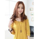 เดรสสั้นเกาหลี สไตล์ทูโทน ผ้านิ่มใส่สบาย ตามสไตล์สาวน่ารัก - เหลือง