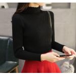 เสื้อแขนยาวแฟชั่นสุด cool ใส่กับกระโปรงหรือกางเกงก็ง่าย ผ้านิ่ม เข้ารูป กระชับทุกรูปทรง - ดำ