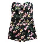 จั๊มสูทลายสวย ใส่สบายแบบกางเกงกระโปรง เพิ่มความเซ็กซี่ด้วยเกาะอกในส่วนตัวเสื้อ - ดอกไม้ชมพู-ดำ M