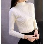 เสื้อแขนยาวแฟชั่นสุด cool ใส่กับกระโปรงหรือกางเกงก็ง่าย ผ้านิ่ม เข้ารูป กระชับทุกรูปทรง - ขาว