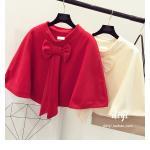 เสื้อคลุมแฟชั่นเกาหลี สีสวย เนื้อนิ่ม แต่งด้วยโบว์ขนาดใหญ่ ดึงดูดทุกสายตา - แดง