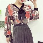 เสื้อแฟชั่นแขนยาว สไตล์สาวเกาหลี ผ้าโปร่ง นิ่ม เบาสบาย น่าสวมใส่รับหน้าร้อนเมืองไทย - ขาว-แดง