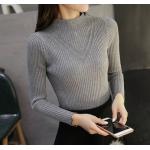 เสื้อแขนยาวแฟชั่นสุด cool ใส่กับกระโปรงหรือกางเกงก็ง่าย ผ้านิ่ม เข้ารูป กระชับทุกรูปทรง - เทา