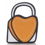 กระเป๋าการ์ตูน 2D แฟชั่นมาใหม่สำหรับสาวอินเทรนด์ ลายหัวใจ เหมือนหลุดมาจากหนังสือการ์ตูน สีส้ม