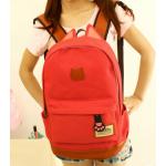 กระเป๋าเป้ทรงสวยๆ ตัดกับหนังสีน้ำตาล สีสวยไม่ตกเทรนด์ - แดง