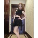 เสื้อแฟชั่นเกาหลี มาพร้อมกระโปรงเข้าชุด น่ารักๆ แต่ก็เซ๊กซี่ไม่เบา - ดำ