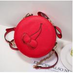 กระเป๋าสะพายสำหรับผู้หญิง ทรงกลมขนาดกำลังดี - แดง