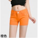 กางเกงยีนส์ขาสั้นสีสันโดนๆ แฟชั่นสีสันสดใส สำหรับสาวๆ ได้ใส่ชิลๆ โชว์ขาเรียวๆ SET4 - ส้ม