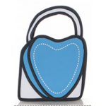 กระเป๋าการ์ตูน 2D แฟชั่นมาใหม่สำหรับสาวอินเทรนด์ ลายหัวใจ เหมือนหลุดมาจากหนังสือการ์ตูน สีฟ้า