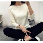 เสื้อแขนยาวแฟชั่นเกาหลี แต่งแขนลายนูนแบบลูกคลื่น สวยเก๋ นุ่มสบาย - ขาว