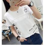 เสื้อยืดแฟชั่นสกรีนลายเก๋ๆ สีสันยอดฮิต ใส่สบายๆ set01 - ขาว