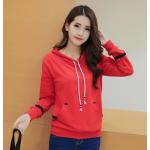 เสื้อกันหนาวแฟชั่น สีพื้นเรียบๆ สวยงามคลาสสิค ใส่ได้กันยาวๆ ไม่มีตกยุค - แดง