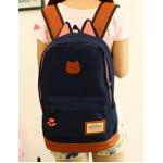 กระเป๋าเป้ทรงสวยๆ ตัดกับหนังสีน้ำตาล สีสวยไม่ตกเทรนด์ - น้ำเงิน