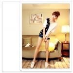 เสื้อแฟชั่นเกาหลี มาในลวดลายสุด chic คอเสื้อแบบคอวี สีทูโทน สีขาว