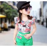 เสื้อผ้าเข้าชุดสำหรับเด็ก ตกแต่งด้วยลายธงชาติเก๋ๆ น่ารัก สดใส สไตล์แฟชั่น - เขียว