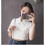 เสื้อขาว-ดำเอวลอย แฟชั่นเบาๆ สำหรับวัยรุ่น เล่นสีทูโทนยอดนิยม - ขาว