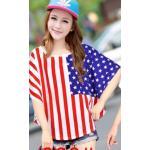 เสื้อยืดแฟชั่นคอกลม แขนค้างคาว สกรีนลายน่ารักๆ ใส่สบายๆ ตามสไตล์วัยรุ่น SET3 - U.S. flag 2
