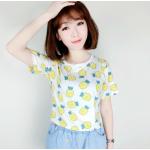 เสื้อยืดแฟชั่น สีสันสุด colorful โทนเย็นๆ สบายตา สกรีนลายน่ารักสมวัย - สับปะรด