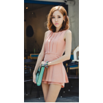 เดรสสั้นเกาหลี สวมใส่สบายแบบกางเกงกระโปรง สวย ดูดี โดดเด่น ทุกมุมมอง - L