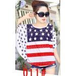 เสื้อยืดแฟชั่นคอกลม แขนค้างคาว สกรีนลายน่ารักๆ ใส่สบายๆ ตามสไตล์วัยรุ่น SET2 - U.S. flag