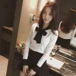 เสื้อแขนยาวแฟชั่น กับการเล่นสีดำ ตัดกับสีขาว - ขาว