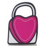 กระเป๋าการ์ตูน 2D แฟชั่นมาใหม่สำหรับสาวอินเทรนด์ ลายหัวใจ เหมือนหลุดมาจากหนังสือการ์ตูน สีกุหลาบ