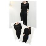 ชุดลำลอง เสื้อพร้อมกางเกงขายาวเข้าชุด สีพื้นเรียบๆ ผ้ายืดใส่สบายๆ ง่ายๆ แต่ดูดี - ดำ XXL
