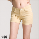 กางเกงยีนส์ขาสั้นสีสันโดนๆ แฟชั่นสีสันสดใส สำหรับสาวๆ ได้ใส่ชิลๆ โชว์ขาเรียวๆ SET1 - กากี