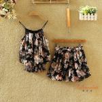 ชุดเซทผ้าชีฟอง ลวดลายดอกไม้สวยๆ - ลาย3