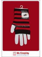 ถุงมือพังค์ ลายริ้ว สีดำแดง Punk Black and Red Stripe Gloves