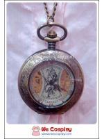 สร้อยคอโกธิคโลลิต้า จี้ล็อกเก็ตนาฬิการะบบออโต้ ขนาดใหญ่ ฝากระจก ขอบสลักลาย สีทองโบราณ