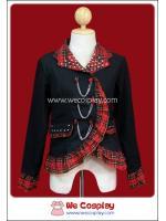 เสื้อสูทพังค์ Punk Suit พื้นดำ ปกระบายลายสก๊อตสีดำแดงทอง ประดับด้วยโซ่