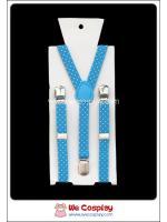 สายเอี๊ยม สำหรับเด็ก สีฟ้า ลายจุด Blue Polka Dots Suspenders for Kids