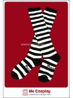 ถุงเท้าโกธิคโลลิต้าพังค์ ยาวระดับเข่า ลายขวาง สีขาวดำ