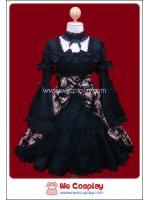 เดรสโกธิคโลลิต้า เมซองลายดอกไม้ สีดำ Black Maisonette Floral Print Gothic Lolita Dress