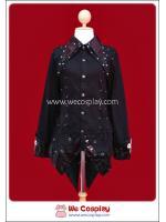 เสื้อเชิ้ตพังค์สีดำ ปกหนัง แขนเสื้อลายกางเขน Cross Black Punk Shirt